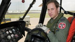 Prince William as an RAF Search and Rescue helicopter pilot