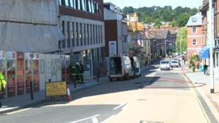Emergency services in Longbrook Street, Exeter