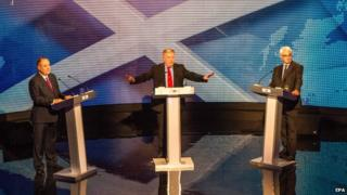 First Minister Alex Salmond and former UK chancellor Alistair Darling debating