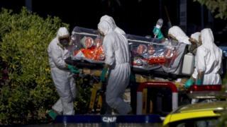 An ebola sufferer arrives in Spain