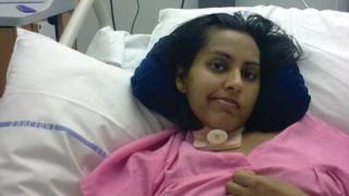 Faiza in hospital