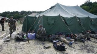Ukrainian soldiers in a camp near Gukovo, Russia, 4 August