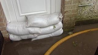Homes in O'Neill Avenue, Newry, were protected by sandbags