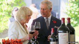 Prince Charles, Prince of Wales and Camilla, Duchess of Cornwall taste wine at the Penfolds Magill State Winery on November 7, 2012 in Adelaide, Australia
