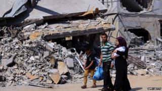 Destoryed buildings in Gaza