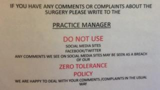 Sign at St Lawrence surgery