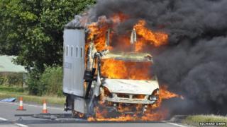 prison van on fire