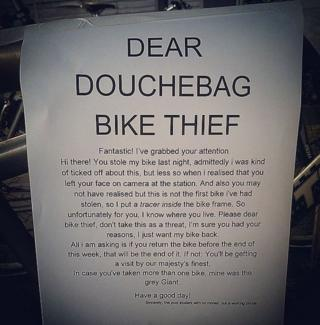 'Dear douchebag'