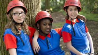Girl Guides wearing the new uniform