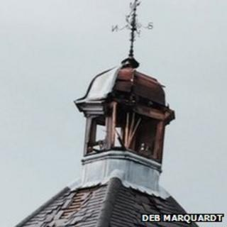 Damaged clock tower