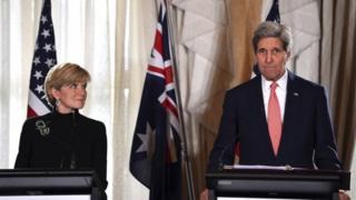 John Kerry met his Australian counterpart Julie Bishop in Sydney on Tuesday