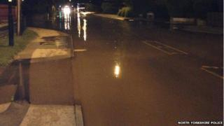 The flooded A19 Doncaster Road in Brayton