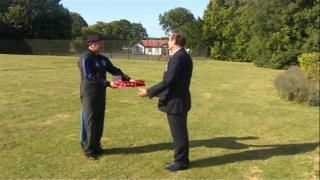 WWI wreaths delivered by parachute at Netheravon Airfield, Wiltshire