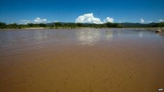 View of the waters of the Sonora River, Mexico on August 12, 2014.