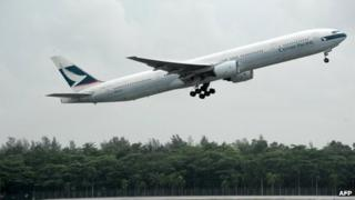 Cathay Pacific plane taking off