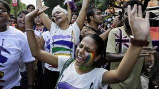 Lesbian, Gay, Bisexual and Transgender activists at a Rainbow Pride Rally in Calcutta on July 13, 2014