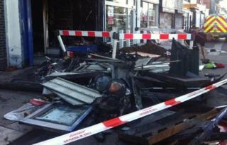 Fire damaged shop