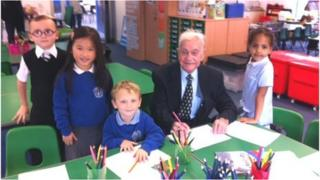 George Hackland, 93, with pupils Pic: Joanne MacAulay
