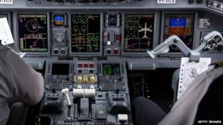 A view of a plane cockpit