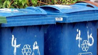 Blue recycling bins generic