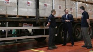 David Cameron at UK aid centre