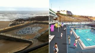 Pool in present day and artist's impression of refurbished pool