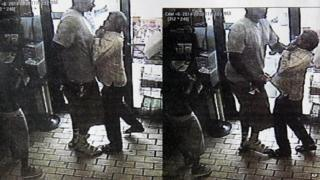 Surveillance stills allegedly showing Michael Brown robbing a convenience store.