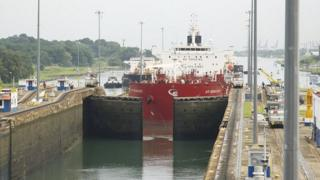A ship at the Panama Canal