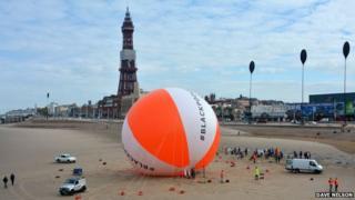 Giant beach-ball at Blackpool
