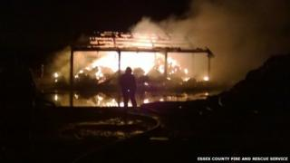 Barn fire in Crays Hill