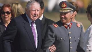Gen Pinochet and Gen Izurieta, March 2000, Chile
