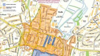 Map of Winchester 20mph zone