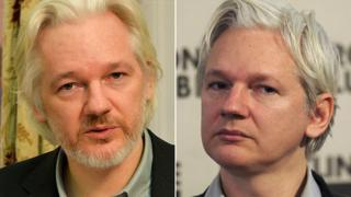 Julian Assange in August 2014 and in February 2012