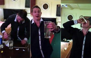 Paul Wooding drinking four minnow