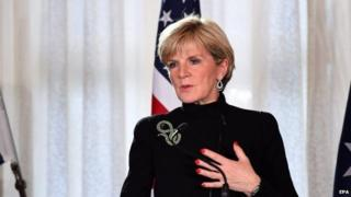Australian Foreign Minister Julie Bishop speaks to the media during a press conference at the conclusion of the AUSMIN talks in Sydney on 12 August 2014