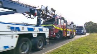 The fire engine being recovered