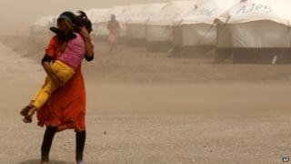Iraqi refugees at camp