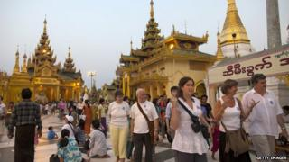 Tourists in Yangon