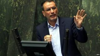 Reza Faraji-Dana addresses the Iranian parliament on 20 August 2014