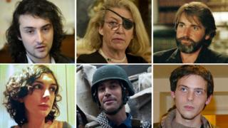 Top row (l-r): Edouard Elias, freed after kidnap; Marie Colvin, killed in airstrike; Anthony Loyd, escaped from kidnappers. Bottom row (l-r): Edith Bouvier, survived airstrike; James Foley, kidnapped and killed; Remi Ochlik, killed in airstrike.