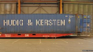 The container in which a group of migrants was found in at Tilbury docks