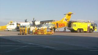 Aurigny plane, which had smoke issuing from the cockpit, at Guernsey Airport