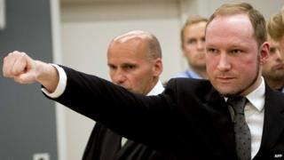 Andres Behring Breivik making a salute at court during his trial for killing 77 people in 2011