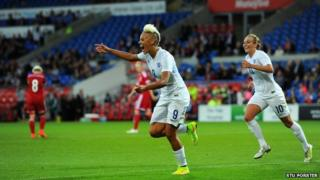 Lianne Sanderson celebrates after scoring goal