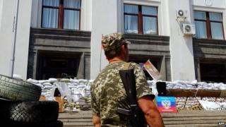 Luhansk rebel HQ - file pic