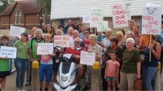 Residents protest at plans to close Monmouth Swimming Pool