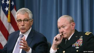 US Defence Secretary Chuck Hagel (L) and Chairman of the Joint Chiefs of Staff General Martin Dempsey
