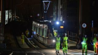 Tram crossing bridge