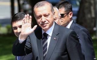 Recep Tayyip Erdogan arrives for cabinet meeting (25 August)