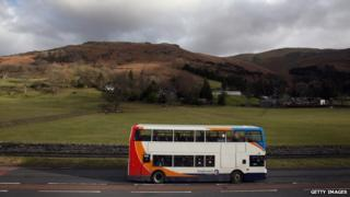 Bus drives through Lake District